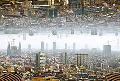 Barcelona - Double Landscape (Ben Heine) Tags: barcelona above old city houses light art tourism fog composite architecture modern composition contrast buildings movie photography fly smog high spain different force view image pov maisons surrealism air horizon echo perspective creative ciudad tourist structure system roofs pointofview espana digitalpainting gravity pollution future reality series canon5d inversion dizzy capture inverted monuments distance society espagne cosmic depth brouillard ville barcelone ether sfumato faraway influence sagradafamlia toits futurist antonigaud gratteciel btiments upanddown gravit benheine doublelandscape flickrunited