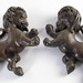 372. Pair of Dueling Rampant Lion Carvings