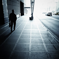 (sparth) Tags: seattle street blue lines silhouette walking square washington downtown bleach squareformat wa streetphoto washingtonstate ricoh bypass 2012 bleachbypass carre seattledowntown grd grd4 walkingsilhouette ricohgrdiv grdiv ricohgrd4