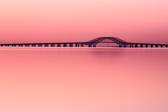 Robert Moses Causeway at Sunrise (Bill'sLIPhotos) Tags: longexposure morning bridge pink sunrise canon eos li peaceful longisland april babylon 2012 xsi 100400 robertmosescauseway ef100400l 450d