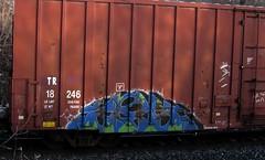 ZES '00 (YardJock) Tags: art train graffiti steel graf tracks railway owl boxcar freight rolling soloartist