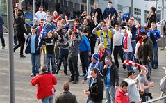 Cardiff Fans do the Ayatollah (joncandy) Tags: cup wales liverpool photo football image stadium soccer cardiff picture final fans league bluebirds wembley carling ayatollah ccfc joncandy