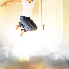 All Fired Up (YetAnotherLisa) Tags: blue portrait me self fire jump smoke jeans bluejeans leap jumpfire flickrleap2012