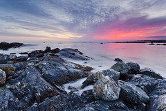 The end of the day (Ian Humes) Tags: pink winter sunset sea seascape water clouds geotagged evening rocks boulders coastal tidal ef1740f4l galwaybay countygalway ireand cccl canon5dmkii