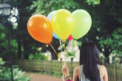 Nobody Can Be Uncheered With a Balloon (Amanda Mabel) Tags: birthday park colour girl fence balloons back ribbons hand with bright bokeh victorian can lamppost surprise be faceless strings winniethepooh vest bestfriend balloon nobody uncheered amandamabel