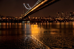 Silver and Gold (SunnyDazzled) Tags: city nyc longexposure nightphotography bridge newyork water night silver reflections river gold lights newjersey cityscape hudson fortlee georgewashingtonbridge
