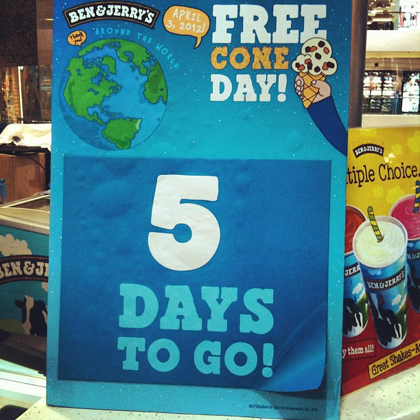 Ben & Jerrys FREE CONE DAY! April 3, causeway bay