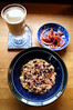Oatmeal with pomegranate molasses, chia seeds, Taza dark chocolate covered cacao nibs; vanilla latte; blood oranges