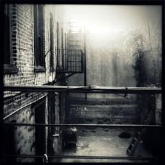 042. Photographic prints are only $11!!! (Manhattan Girl) Tags: nyc bw sunlight building brick manhattan wires gothamist fireescapes hipstamatic helgavikinglens blackeyssupergrainbwfilm