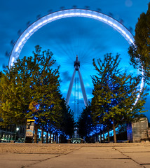 Eye see you! (ajagendorf25) Tags: blue trees sunset england london eye lines wheel thames golden long exposure unitedkingdom south bank ferris hour leading d90 ajagendorf25 alexjagendorf