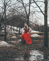 42.52 - Lost In A Fairytale (KatGatti) Tags: winter portrait canada reflection tree girl beautiful fairytale creek forest canon project hair landscape lost cool model princess branches awesome medieval haunted blond crown epic narrative 52