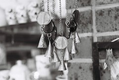 Some kind of wind chimes? (Matthew Paul Argall) Tags: blackandwhite decorative ornament windchimes pentaxmz50 ilfordhp5plus