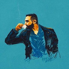 Ehi, caff (Paulo Brabo) Tags: man male coffee caf illustration drink drawing