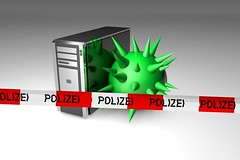 Computer mit Virus und Polizei-Band (www.elbpresse.de) Tags: digital computer technology it hacker antivirus polizei virus trojaner malware berwachung technologie nsa viren sicherheit
