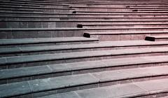 (orwa_farran) Tags: city nyc blue shadow sky blackandwhite white abstract art colors field lines architecture stairs studio landscape la artist outdoor geometry stadium horizon line depth doha qatar katara