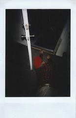 Day 038 (H o l l y.) Tags: door shadow red portrait film girl hat night analog self vintage dark photo fuji away mini retro indie instant getting crawl crawling instax logomachie lomoinstant
