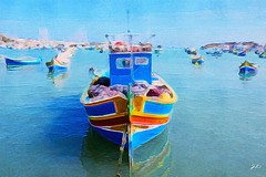 Leonardo - Brushstroke. (joseph_donnelly) Tags: sea art watercolor painting boat fishing malta leonardo brushstroke breshstrokeapp