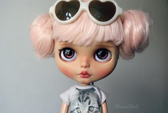 May (AlmondDoll) Tags: pink doll ooak blythe artdoll custom pinkhair tanned ooakdoll customblythe ooakblythe handpaintedeyechips almonddoll almonddollart