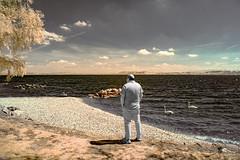 ...TheMonochromeObserver... (7H3M4R713N) Tags: sky people lake men bird nature alpes landscape ir switzerland swan suisse outdoor swiss bluesky infrared infra neuchtel falsecolor blueandyellow xe1 mirrorless convertedcamera pixelpeeper 590nm fujinonxf18135mmf3556rlmoiswr