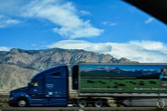 I don't do shots out the car window.... (Little Hand Images) Tags: window highway tractortrailertruck rig semi albuquerque newmexico sandiamountains