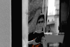 a mirror never lies, but it may  distort   reality ... (mariola aga) Tags: bw white distortion selfportrait black reflection me window monochrome mirror store curvedmirror