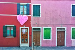 Love is in The air #burano #venice #prefer #heart #love #pink #beautiful #like #comment #house #red #green (aaroncapobianco) Tags: pink venice red house green love beautiful heart like comment burano prefer