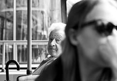 Eye Contact (C_MC_FL) Tags: vienna old portrait blackandwhite bw woman man sunglasses canon person eos austria blackwhite focus eyecontact fotografie dof alt candid streetphotography tram shades depthoffield sw mann frau pho tamron tramway sonnenbrille schrfentiefe bim fokus 2470 tiefenschrfe schwarzweis a007 60d strasenbahn