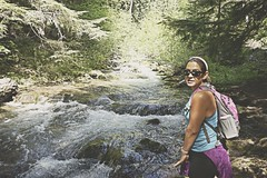 Emily at Tamawanas Falls (pete4ducks) Tags: nature water oregon emily hiking matte 2016 tamawanasfalls on1pics