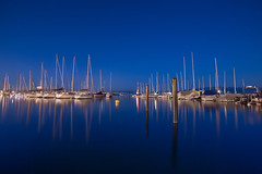 The Stereophonic Sound Spectrum (Maximecreative) Tags: longexposure blue lake reflection water vertical port boats mirror switzerland twilight harbour calm lakeside serene sailboats leman masts f28 select morges mts voiliers 14mm nightblue samyang