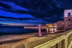 Blue Hour Cefalu II (mcalma68) Tags: italy seascape beach architecture night clouds sicily bluehour authentic cefalu
