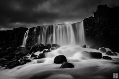 Öxarárfoss - Þingvellir National Park (gregor H) Tags: longexposure wild sky fall nature water dark island is blackwhite iceland curtain splash suðurland dramatique fiter