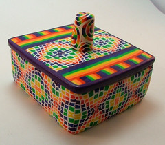 Rainbow Crazy Quilt Handmade Keepsake Box (polymerclaycreations) Tags: rainbow colorful handmade stripes kaleidoscope polymerclay swirls crazyquilt keepsakebox pcagoe challengeentry polymerclaycreations angelahickey