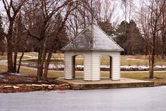 Winter Gazebo (Lerxst Ohio) Tags: trees winter ohio cold nature geotagged pond nikon snowy gazebo frozenpond macrolens coxarboretum montgomerycounty d80 sigma50mmf28 45449 nikond80 fiveriversmetroparks wintryscene miamitownship coxarb hollyannsmith photobyhollyannsmith