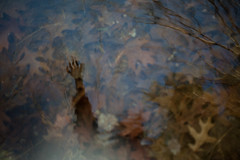 Harbor Air (ChelseaBoothe) Tags: autumn selfportrait reflection girl leaves canon river 50mm f18 ghostly 2011 5dmarkii