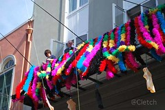 Mardi Gras in the French Quarter (cletch) Tags: architecture buildings neworleans frenchquarter mardigras wroughtironbalcony
