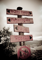 Where to go ?? (Vergnaud Nicolas) Tags: city sky signs norway forest view mai ciel bergen nuages vue ville fort norvege panneaux 2011 cloods