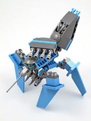 Cyanokoma - Oblique View (halfbeak) Tags: blue silver grey robot tank lego gits mecha thinktank moc tachikoma marchikoma