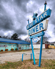 Blue Star Diner (Sky Noir) Tags: blue food usa news classic sign facade photography star virginia cool neon day cloudy quality air prefab diner newport signage 50s conditioned mid1900s skynoir