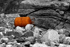 Marine litter. Rusted gas container on the shore. (Snemann) Tags: sea norway trash beaches coastlines troms selectivecolouring karlsy k10d marinedebris pentaxk10d plasticwaste justpentax marintavfall strandsppel