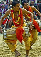 Drum and Dance (rob of rochdale) Tags: india heritage yellow movement festivals culture dancer drummer tradition kohima nagaland 2011 kisama northeastindia hornbillfestival robhaich