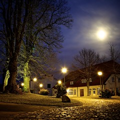 lights (egal_ist_88) Tags: trees light sky moon house color detail reflection building lamp night digital canon stars photography eos photo stones lone 5d asquaresuperstarstemple