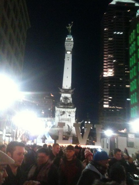 Crowds around Monument Circle