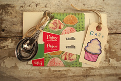 KitchenKitsch (obsequies) Tags: pink canada cute green ice kitchen cake vintage mixed media box antique steel tag cottage cream lot style kitsch cupcake gift swap sweets aged chic distressed twine stainless spoons collectable measuring shabby desser deadstock swapbot alittlesomethingformykitchen