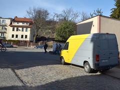 Gdansk, 2012 (kuba paczkowski) Tags: auto street shadow people man color colour men car yellow digital nikon gray streetphotography poland cobble streetphoto gdansk danzig cie ludzie gdask ulica d7000 kubapaczkowski