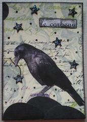 le corbeau (raven) (tammybeck) Tags: bird art atc artisttradingcard handmade craft aves card crow raven 2012 lecorbeau