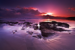 The Sunrise That Nearly Never Was - Explored 19/2/12 (mark_mullen) Tags: uk pink england sky sun seascape beach nature beautiful sunrise reflections landscape seaside sand rocks colorful purple scenic explore northsea scarborough colourful sunrays southbay northyorkshire eastcoast canon1740f4 flickrexplore canon1dsmkii explored flickrexplored cokinnd hitechreversendgrad markmullenphotography