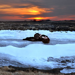 (emmakatka) Tags: winter sunset sky snow ice girl field golden alone country north emma dakota laying katka