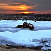 (emmakatka) Tags: winter sunset sky snow ice girl field golden alone country north emma dakota laying katka