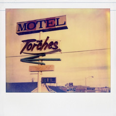 The Torches Motel (Nick Leonard) Tags: old blue red orange color classic film sign yellow clouds vintage polaroid route66 colorful gloomy cloudy nick overcast motel scan retro signage arrow polaroidspectra timeless 1960 motelsign barstow colortv instantfilm epson4490 polaroidspectraaf spectrafilm colorshade 66motel integralfilm nickleonard colortvbyrca type1200 theimpossibleproject thetorchesmotel pz680 believeinfilm