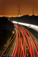 The Motorway (D.J. De La Vega) Tags: cars night lights nikon long exposure motorway pylon d90